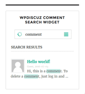 This widget for wpDiscuz comments